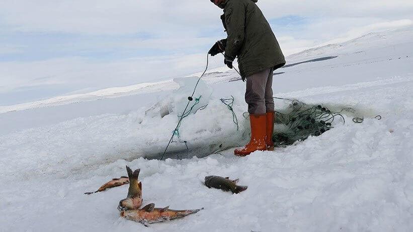 Halk, Donmuş Baraj Gölünde Balık Avı Yapıyor